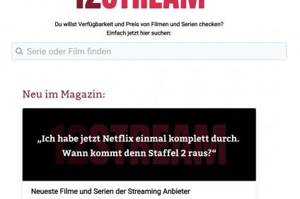 Screenshot der Streamingsuchmaschine 12stream.de