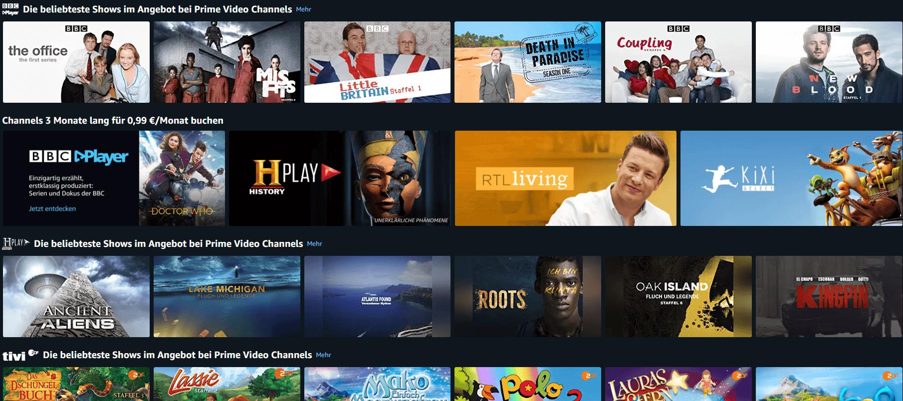 Bildausschnitt der Amazon-Website auf der Prime Channel Übersicht